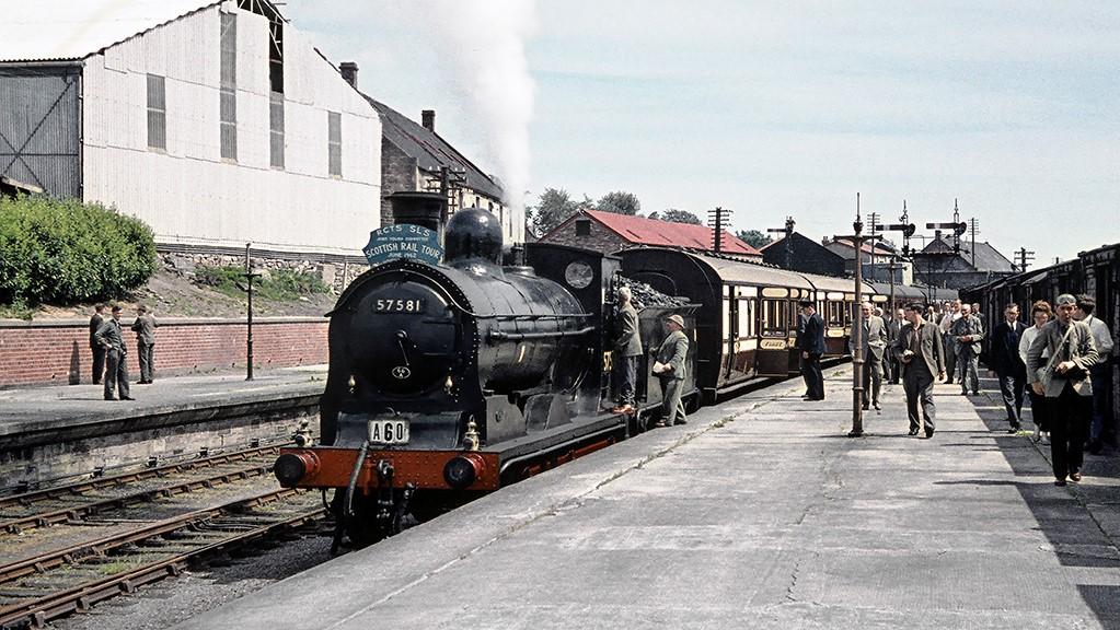 The Marathon Railtour in Platform 2 at Brechin station, June 17, 1962.